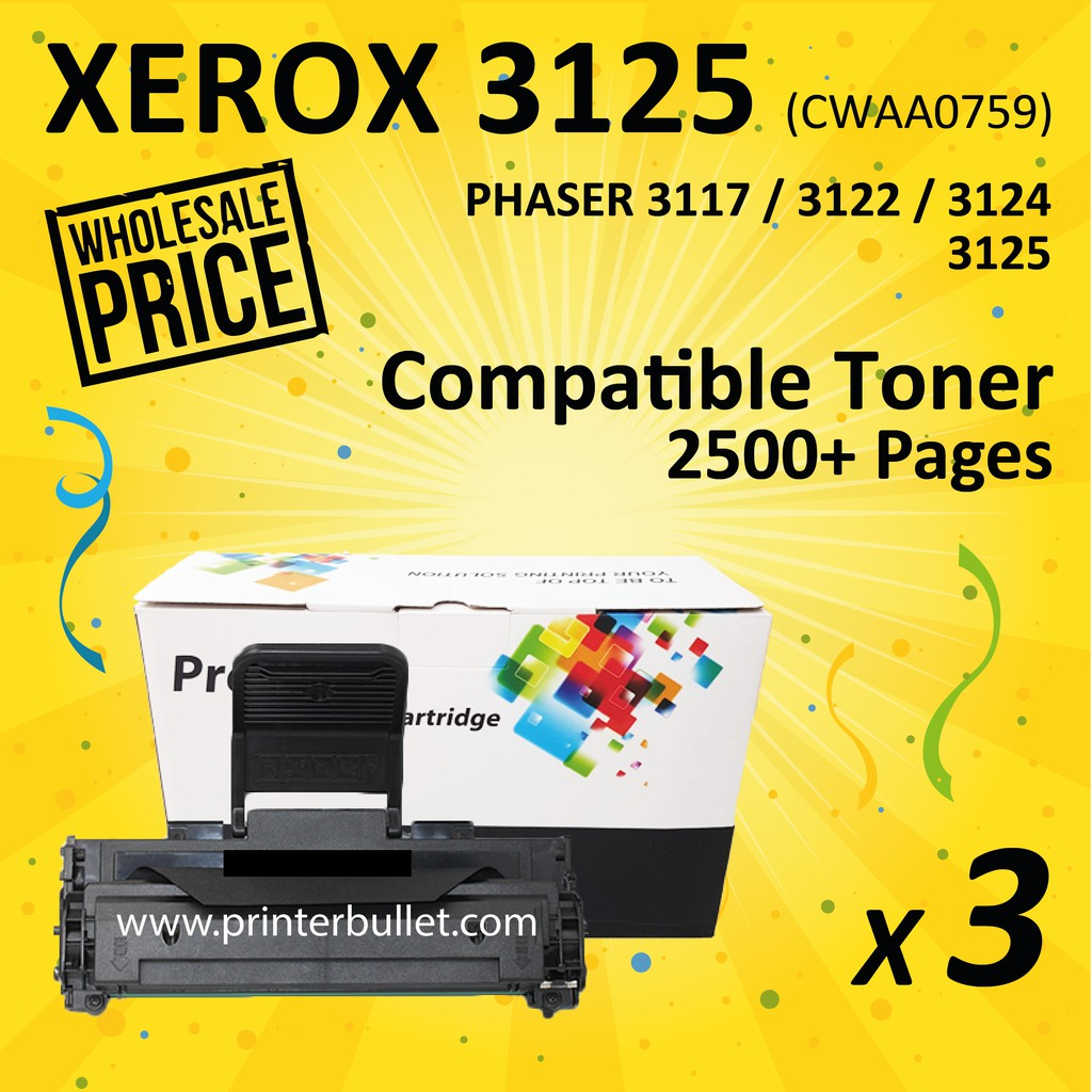3 unit Fuji Xerox 3125 Compatible Laser Toner Cartridge