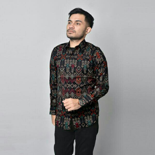 O.Song Black Kemeja Batik Shirt Songket Lelaki Lengan Panjang Slim Fit