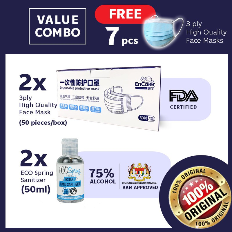 【VALUE COMBO 】2x EcoSpring Hand Sanitiser 50ml + 2 box 3 lyr Surgical Face Cover