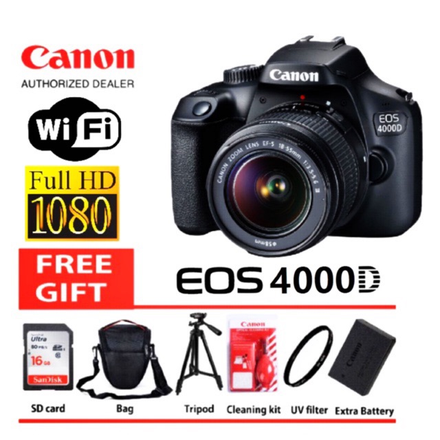 Canon EOS 4000d WiFi 18mp Dslr original 3 year warranty