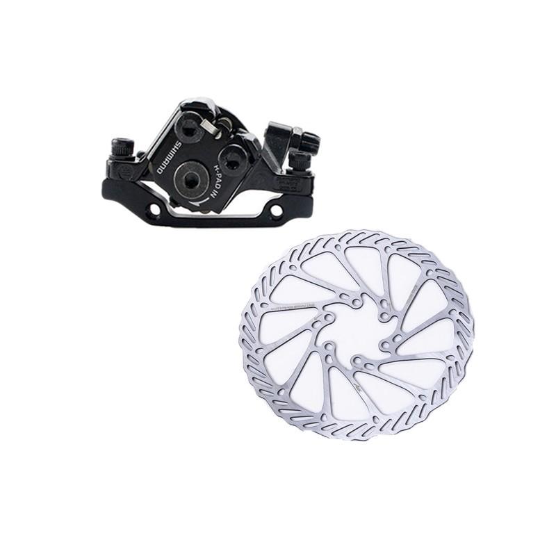 1 Pair Shimano BR-M375 Mechanical Disc Brake Caliper Set Front/&Rear+Rotors Disc