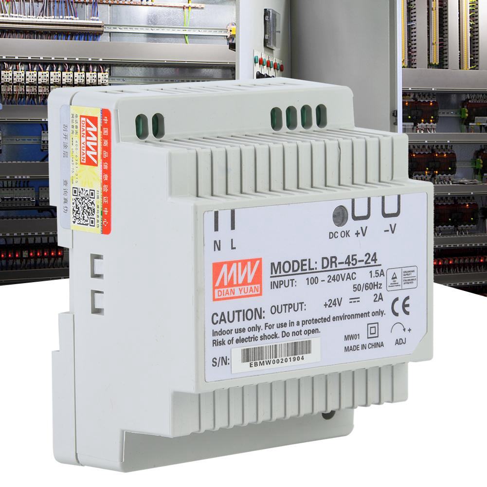DR-45-24 45W Single Output 24V Din-Rail Power Supply AC/DC Switching Power  Supply