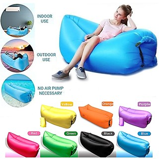Inflatable Lazy Air Bed Lounger Couch Chair Bag Sofa Hangout Camping Pool Beach