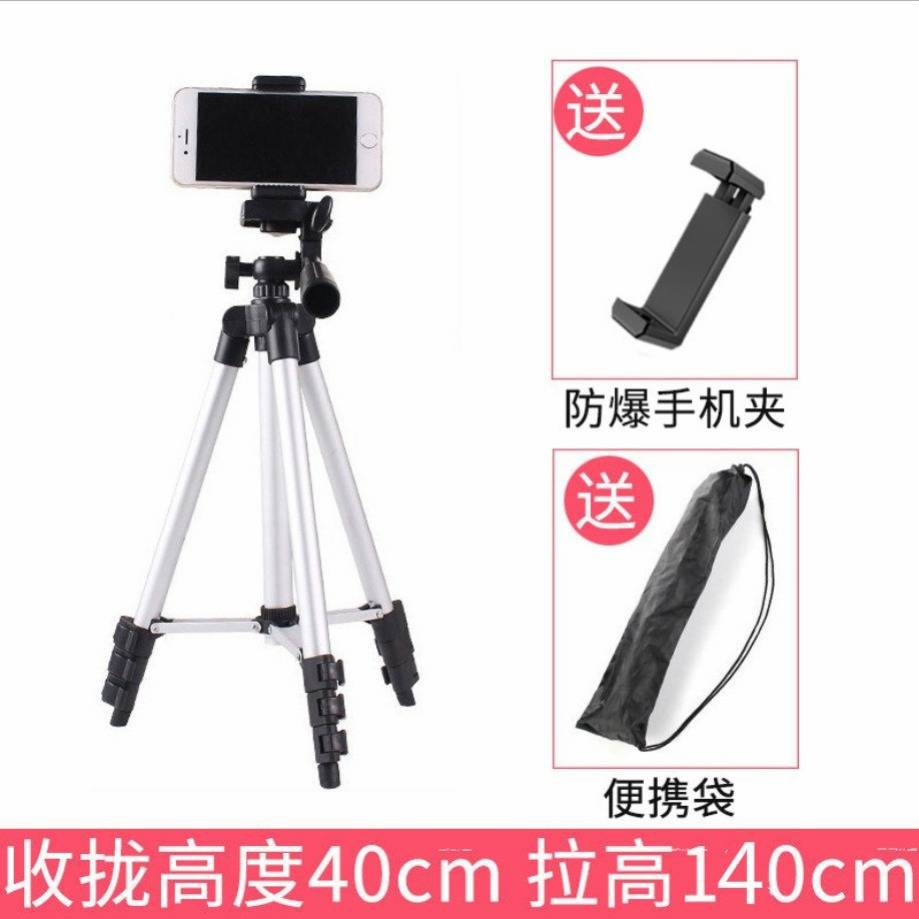 Compact Lightweight Outdoor Desktop Tripod Multifunctional Lazy Floor Support Phone Clip Silver