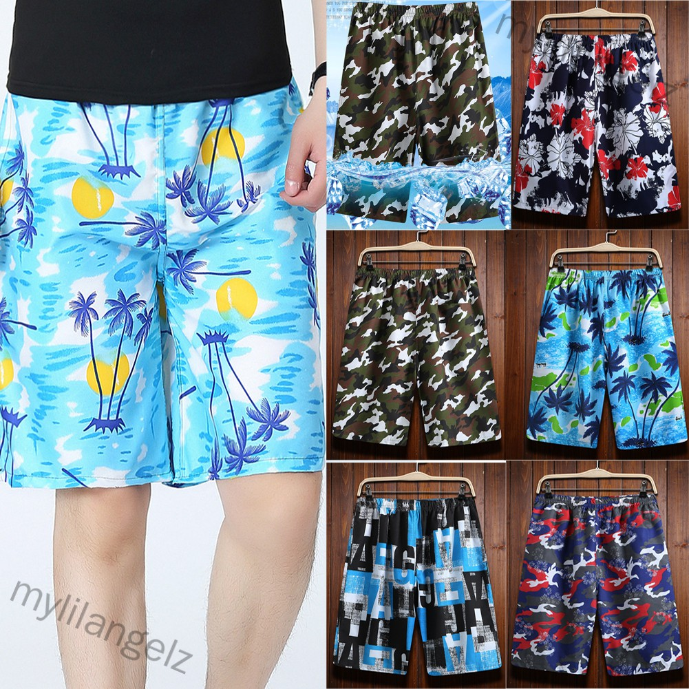 Mylilangelz Men Casual Loose Colorful Printing Quick Dry Beach Shorts