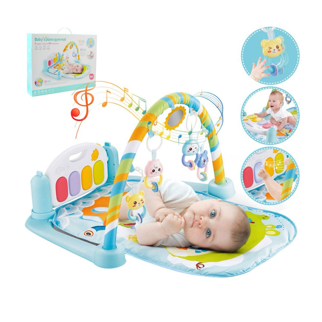 [ READY STOCK ]  Fitness Body Building Frame Pedal Piano Music Baby Play Mat Budak Mainan Toy Jualan Murah Early Learning