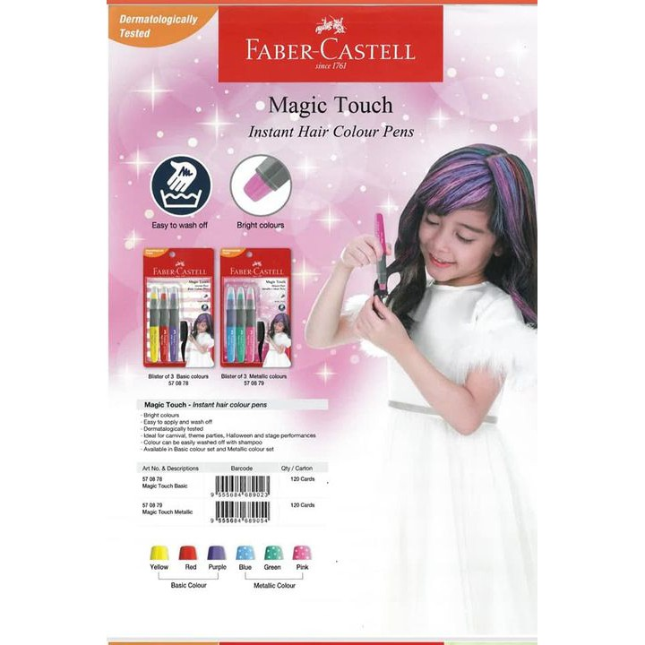 Faber-Castell Magic Touch Instant Hair Colour Pen (Set of 3, Basic / Metallic Color)