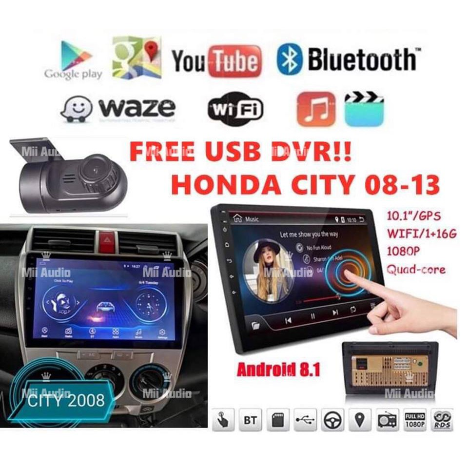 🔥Honda City 2008-2013 10 INCH IPS 2 5D full HD screen Android Player With  Casing (FREE USB DVR)