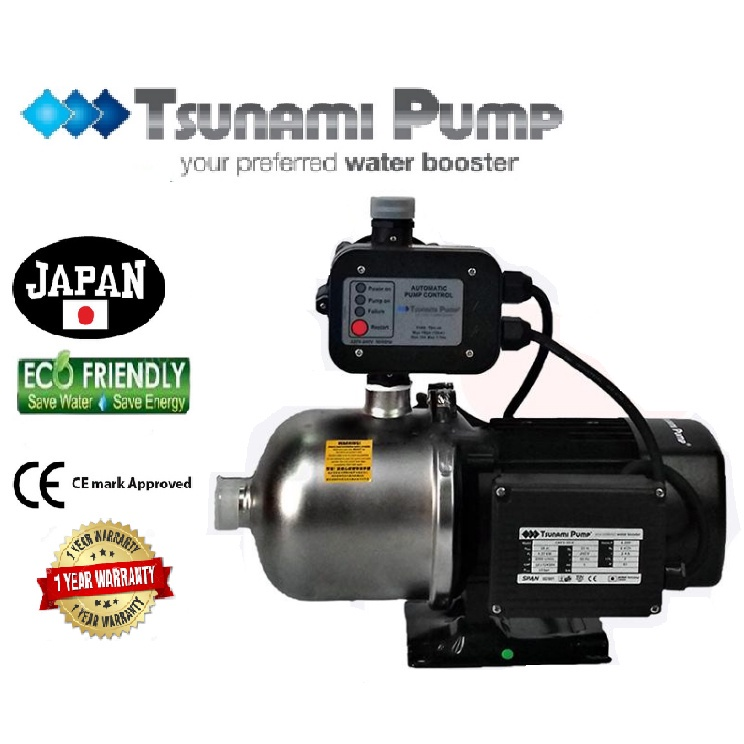 Tsunami CMF2-30-K Food Grade Stainless Steel Casing Home Auto Booster Pressure Water Pump【1 Year Warranty】