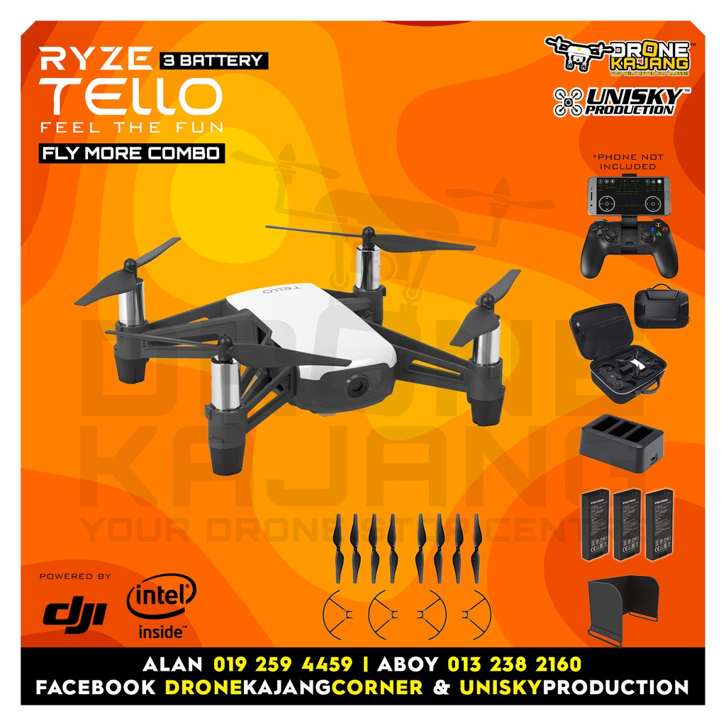 RYZE TELLO FLY MORE COMBO (6months Months with Warranty Drone Kajang)