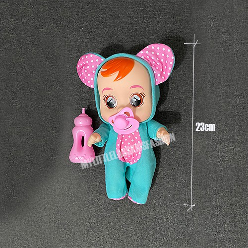 Crying Doll Toy Baby Children Modeling Toy with Pacifier Jumpsuit Real Tear Toys for Girls