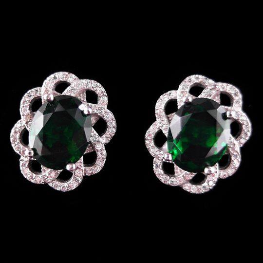 14mm  Gorgeous Cubic Zirconia  Solid 925 Silver Flower Hoop Earrings Gift Women