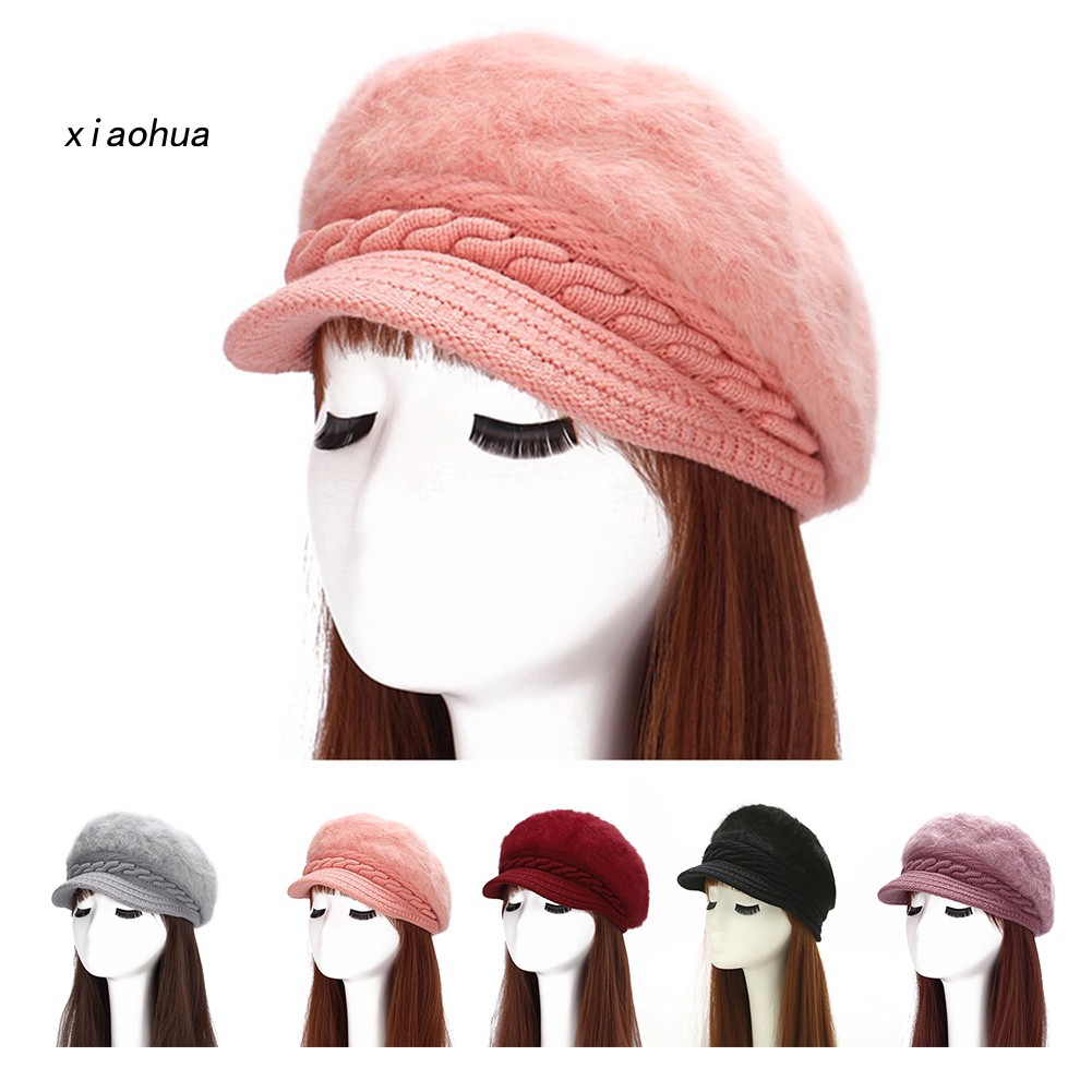 XOHA Women Fashion Faux Rabbit Fur Knitted Hat Outdoor Winter Thicken Warm Beret