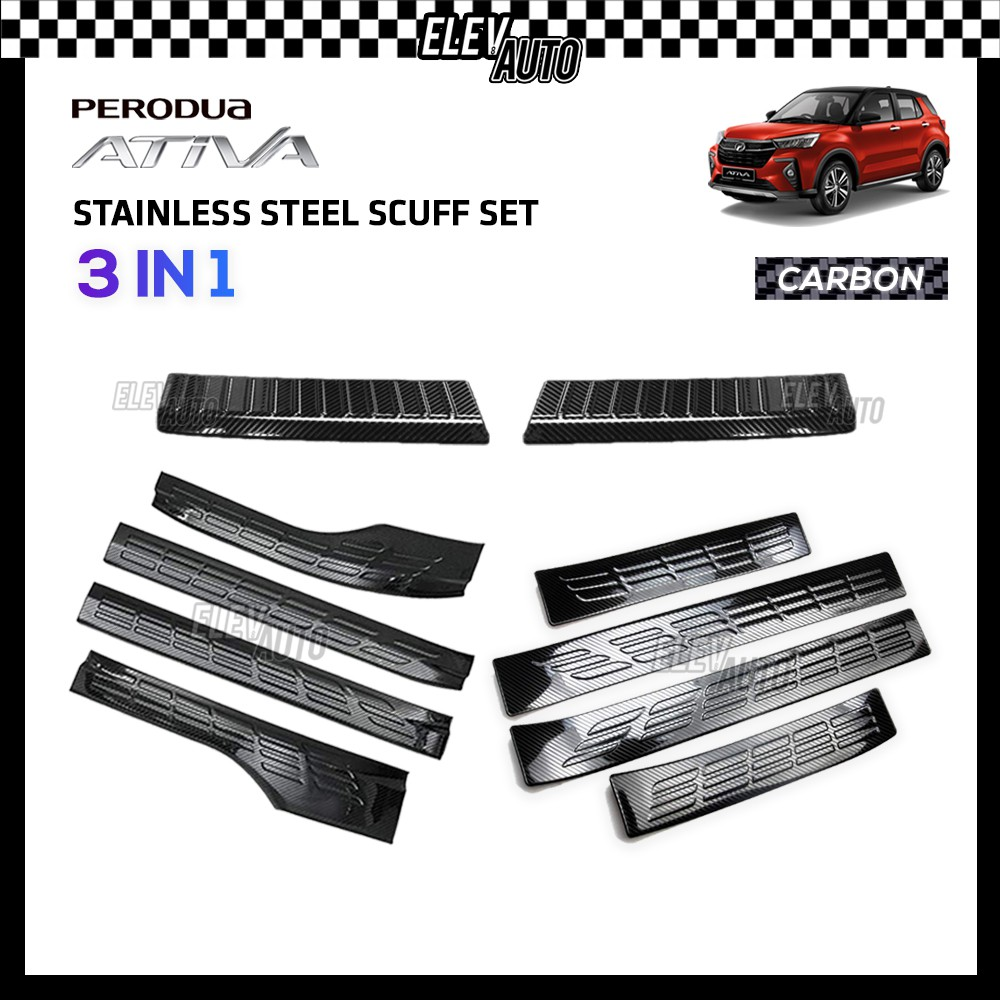Perodua Ativa STAINLESS STEEL Carbon Scuff Set Rear Bumper Guard Side Sill Step GEAR UP 3 in 1 Perodua Ativa Accesories