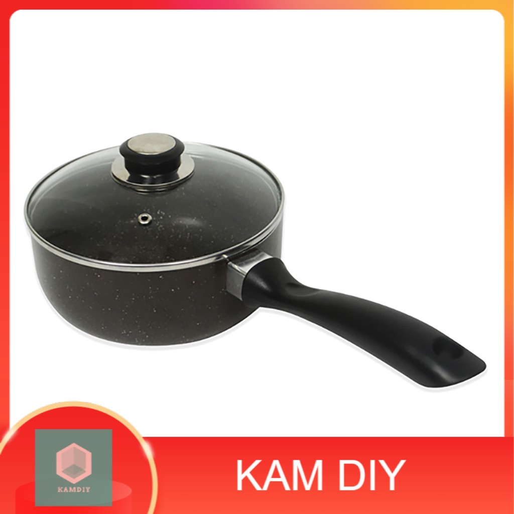 Marble Coated 18cm Sauce Pot with Glass Lid for Easy Monitoring. Suitable for Gas and Electric Stoves