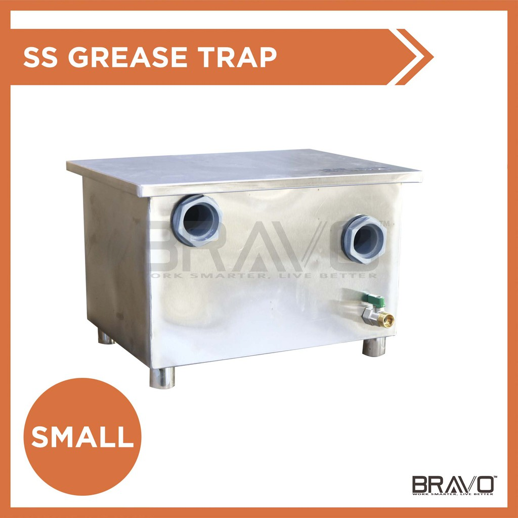 Bravo 27l 410x310x270 Mm Stainless Steel Commercial Grease Trap Interceptor For Bowl Sink Oil Filter Separator Shopee Malaysia