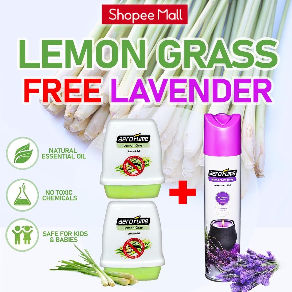 Lavender Spa Aroma Spray (1 Pcs) + Lemon Grass Scented Gel (2 Pcs) [Bundle] Fragrance