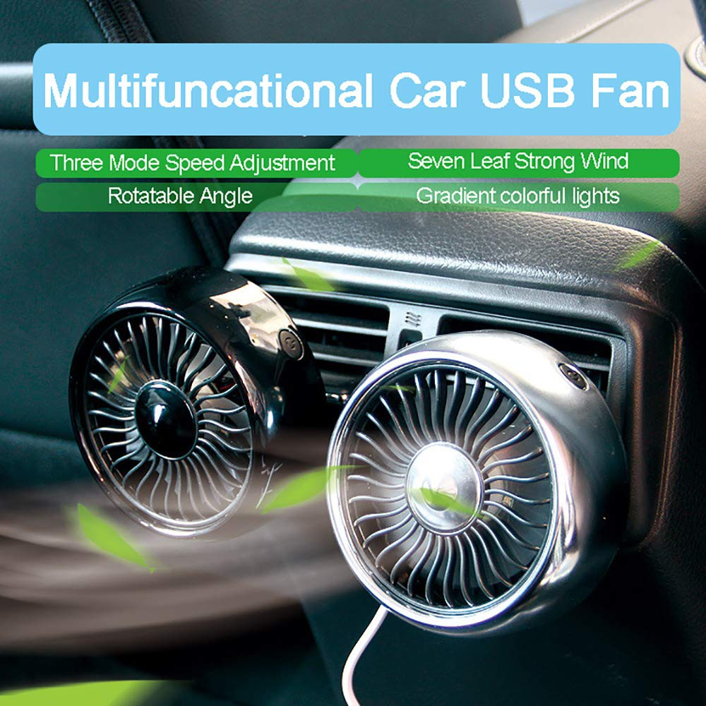 🔥Car Fan Air Conditioning Auto Cooler 3 Speed Colorful Lights Strong Wind  Low Noise Car Air Outlet USB Fan