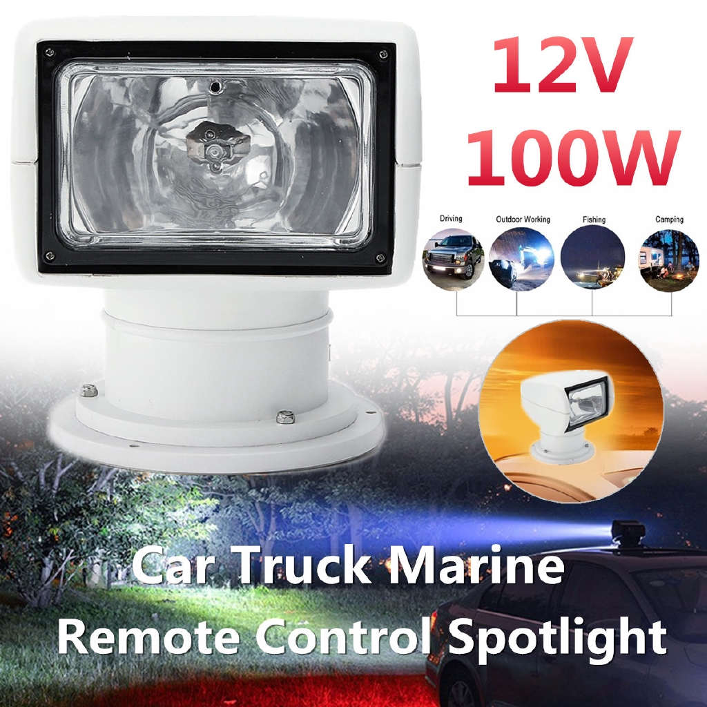 Boat Remote Control Spotlight Truck Car Marine Remote Searchlight 12V 100W Bulb