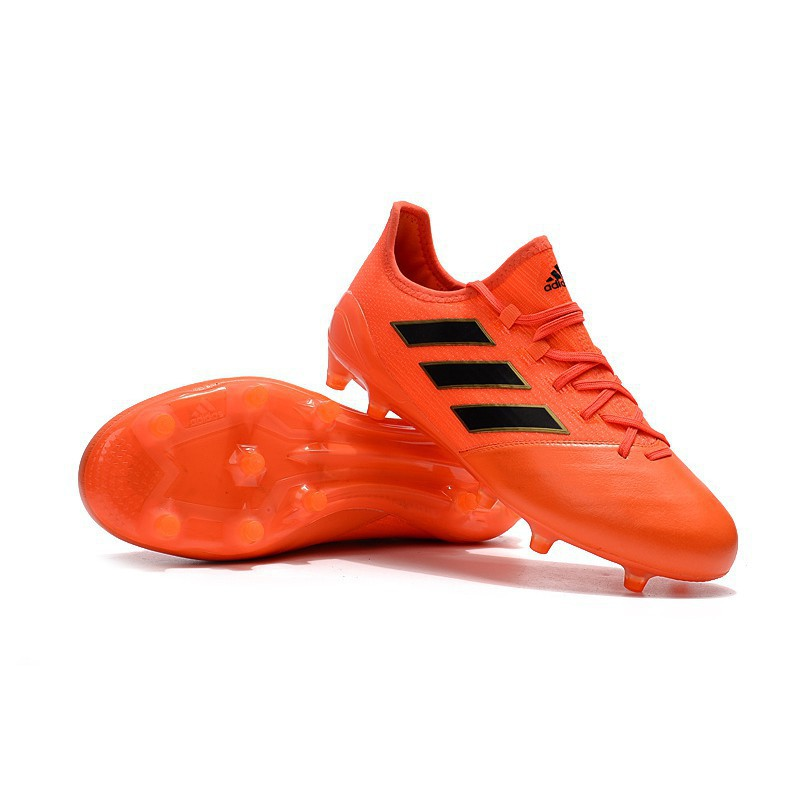 timeless design f7d02 0a7b4 adidas ACE 17.1 Leather FG letahter mens sport soccer football low orange  shoes