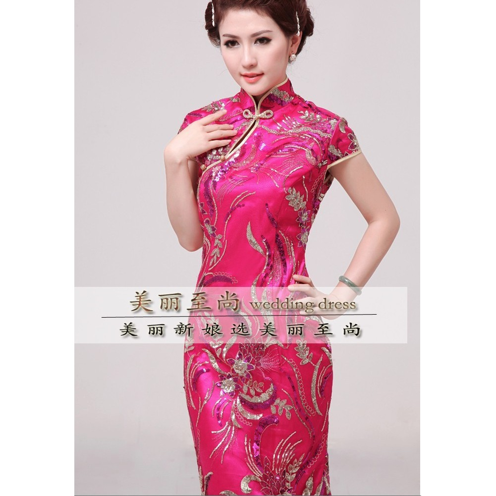 a5f075f892d93 Pink Mermaid Cheongsam Qipao Sequin Wedding Bride
