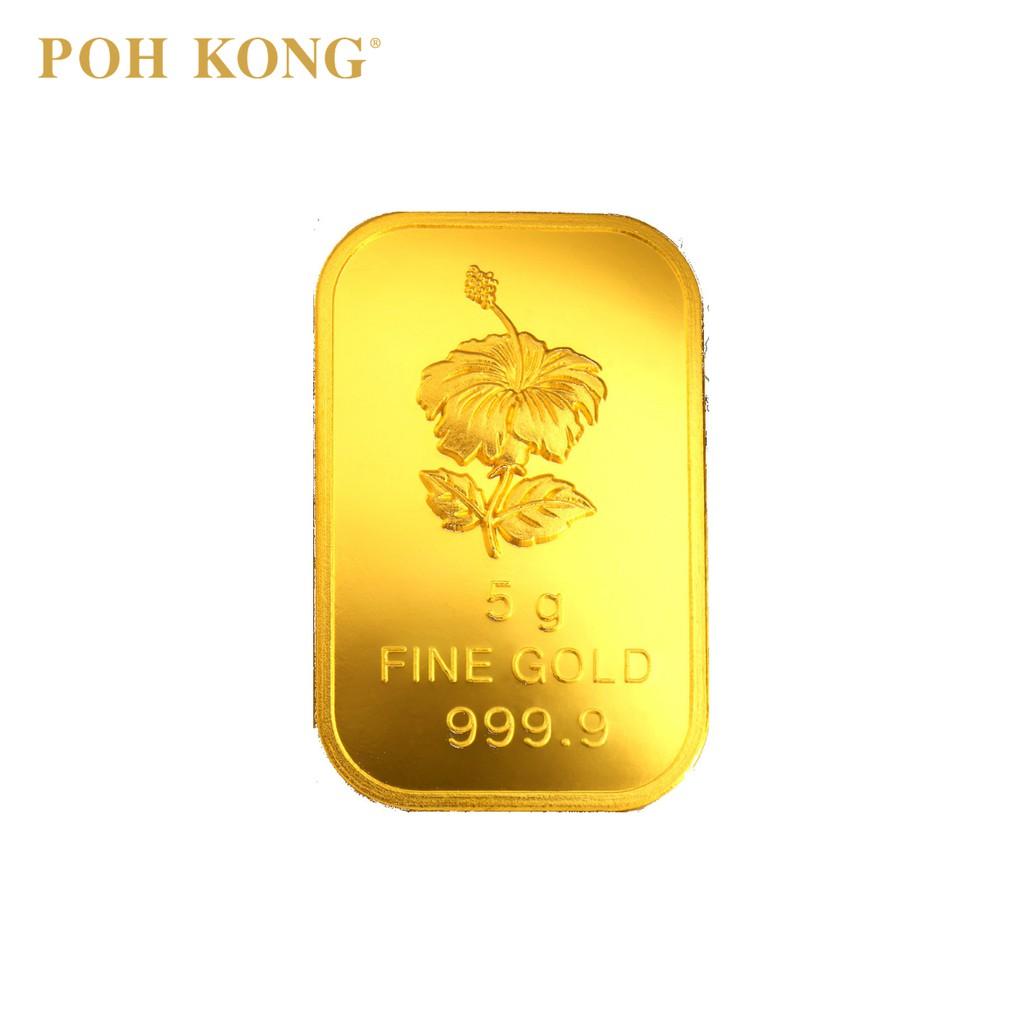 Poh Kong 999 9 Gold Bunga Raya Bar 5g Shopee Malaysia