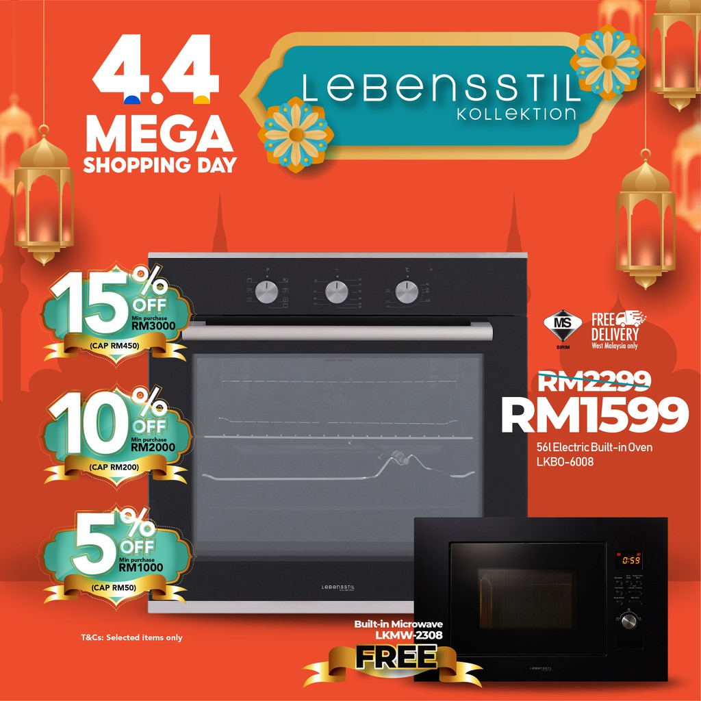 Lebensstil 56L | 60CM Built-in Electric Single Wall Oven | Triper Glass Door LKBO-6008 FREE Built-in Microwave LKMW-2308