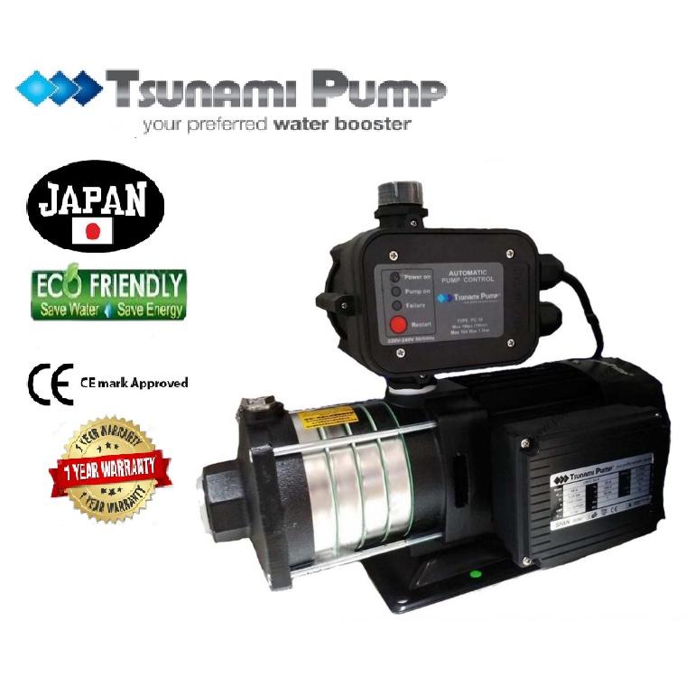 Tsunami CMH2-50-K Single-Phase  Home Horizontal (0.75HP) 0.55KW Water Pressure Pump Booster Pump【1 Year Warranty】