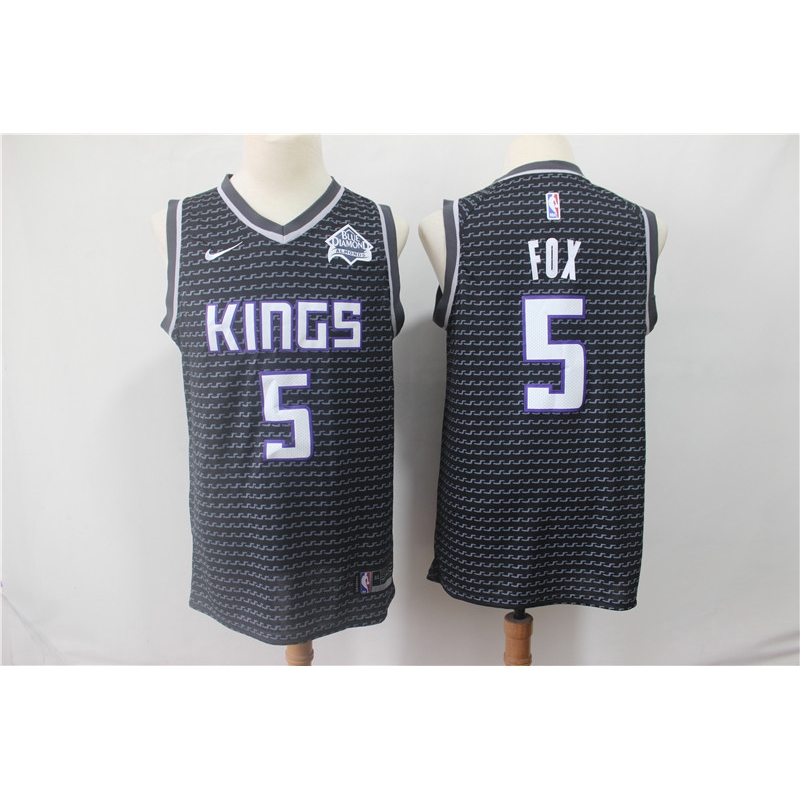5 Fox Basketball Uniform Suit Tops Basketball T-Shirt for Basketball Fans S - XXL Mens Jerseys Sports Vest Sacramento Kings No ,Blue,S:165~170cm