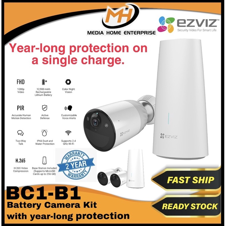 Ezviz BC1 Outdoor Wire-free Camera - Ultra-long battery life, PIR Motion, Color night vision, 1080p