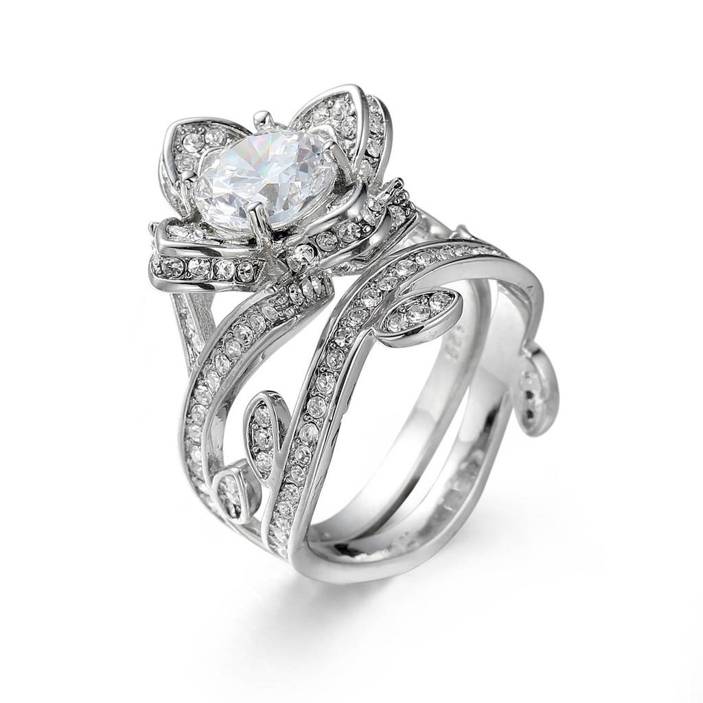 Women Round Cut Clear Cubic Zircon Wedding Bridal Ring Flower