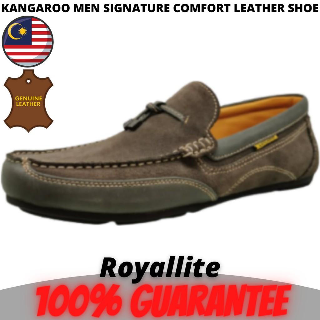 KANGAROO MEN SIGNATURE COMFORT LEATHER SHOE (9497) A62A60Khaki