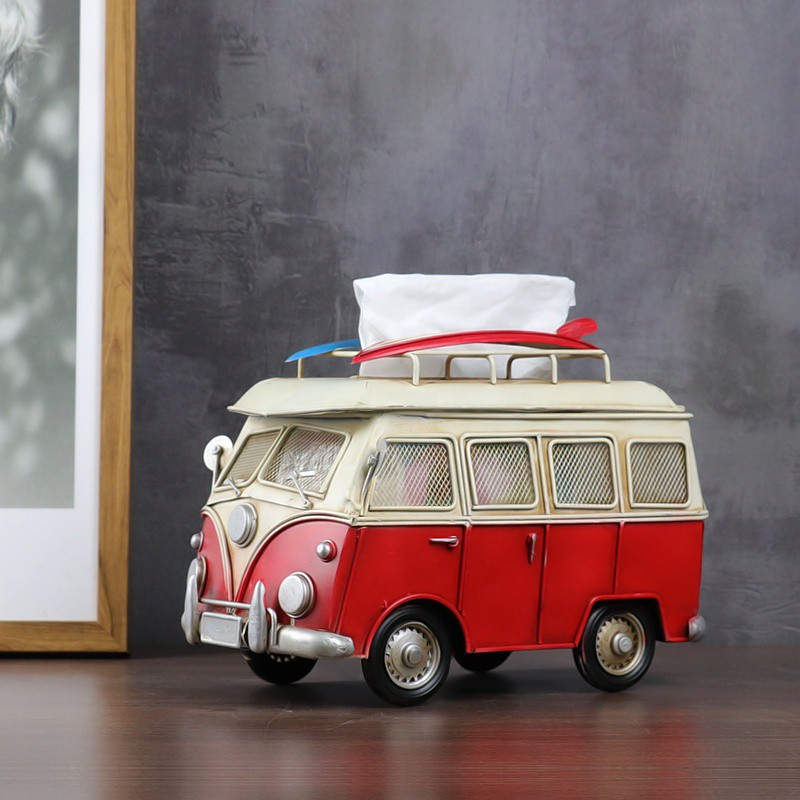 Tissue Box Red Vintage Bus Model Metal Crafts Home Office Bar Restaurant Decor