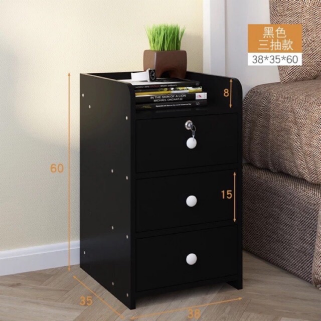 Upgrade Large Size With Key Bedroom bedside table room bedside cabinet with  lock assembly cabinet