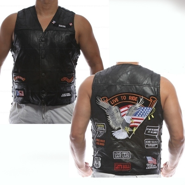 New Genuine Sheep Leather punk Vest Concealed Carry Biker Vest with Patches Harley motorcycle Men Waistcoat Sleeveless