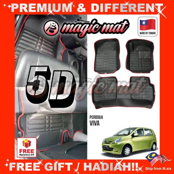 [FREE GIFT Gift] PERODUA VIVA (5 Seater)  MAGIC MAT 5D OEM PU Leather Floor Mat Anti-Slip Easy Clean Carpet