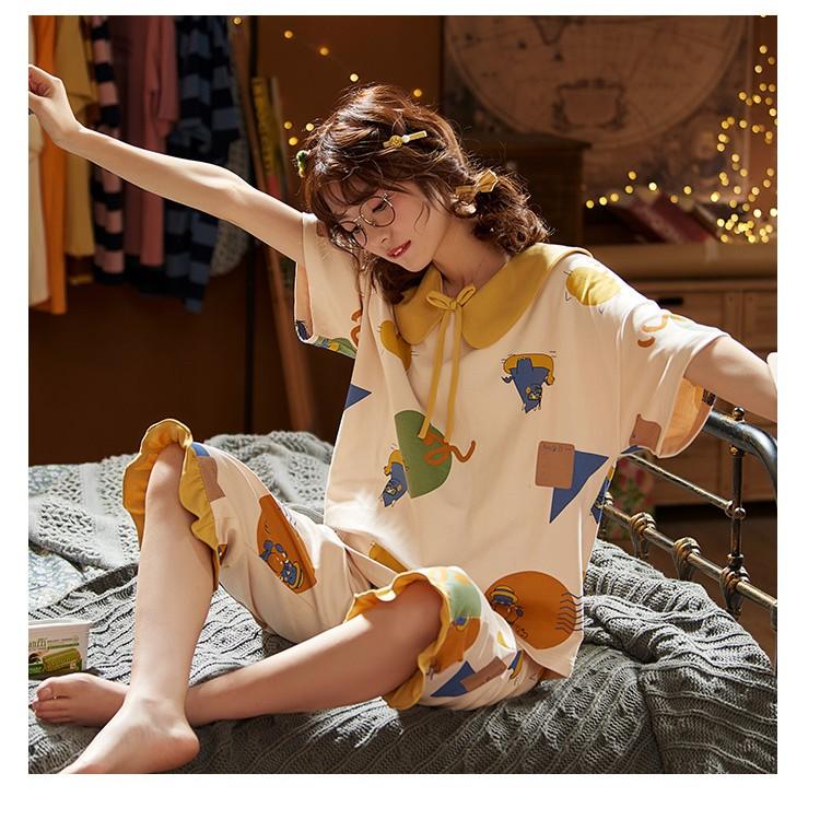 ชุดนอนสตรีผ้าฝ้ายแขนสั้นไม่รัดรูปไซต์ใหญ่ m - 4