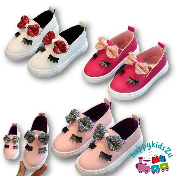 Girl Eyebrow Buckle Sneaker Shoes l Kasut Sarung Budak Perempuan (pink, rose pink, white)