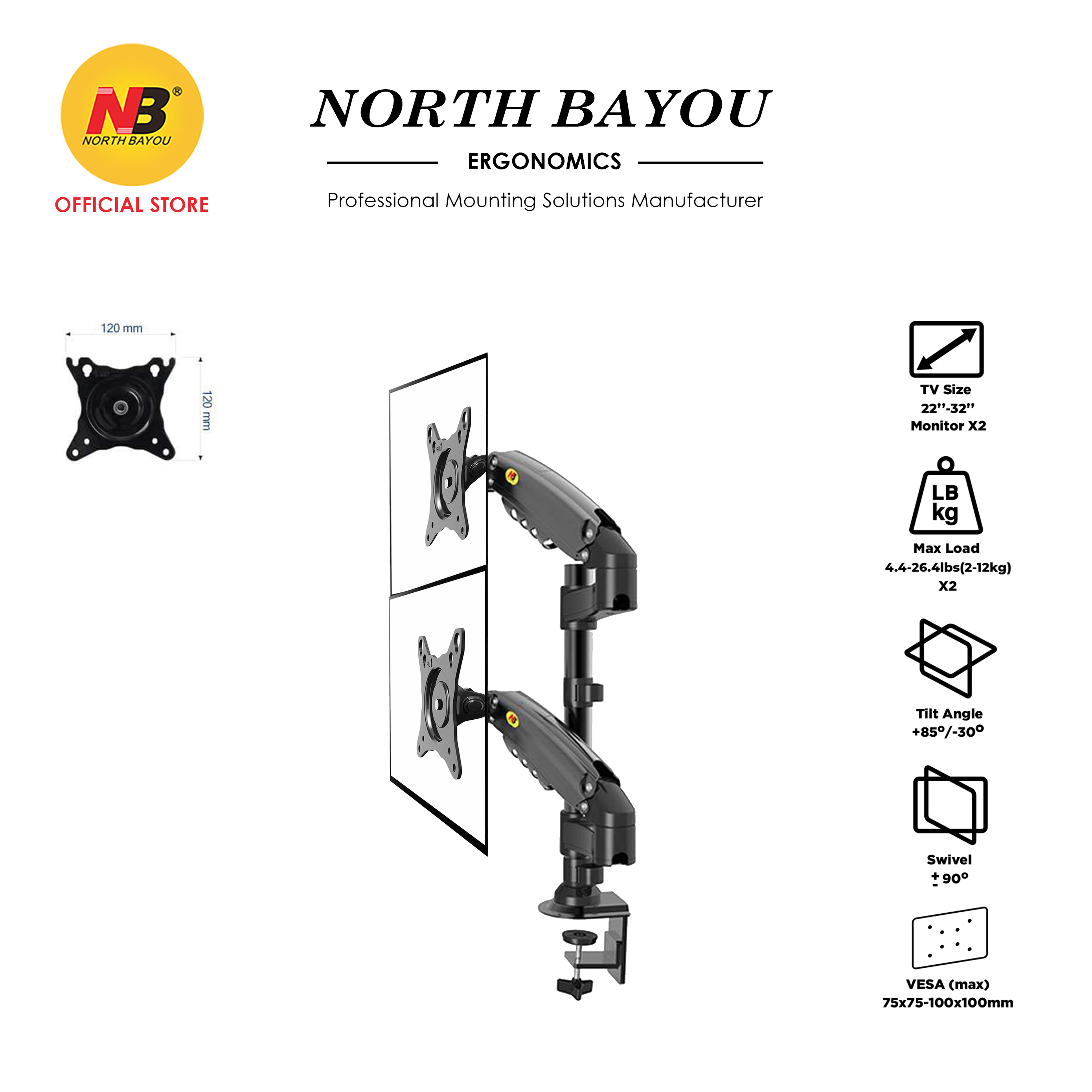 NB North Bayou H180 22-32 Inch Gas Strut Dual TV Monitor Bracket Desk Stand Mount Holder Up to 12kg for Each Monitor