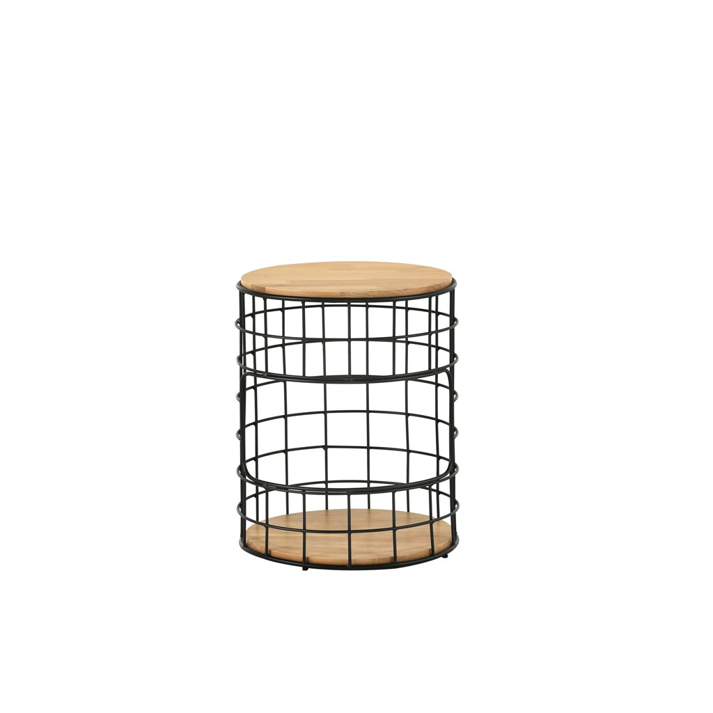 Prkica Round 420mm Solid Wood Side Table with Metal Leg / 2 Layers Side Table Living Room Furniture