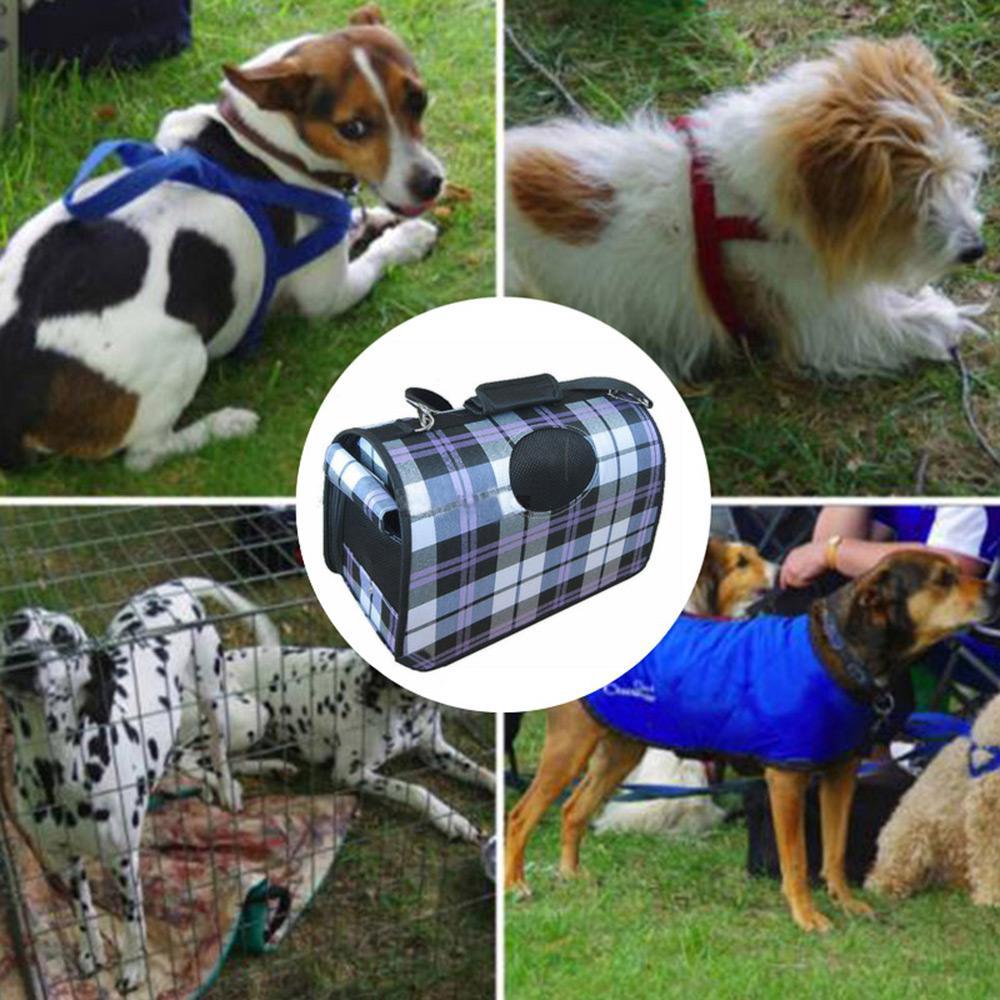 5268ceb6cf Folding Pet Carrier Plaid Pattern Pet Hiking Carrier Portable Breathable  Case
