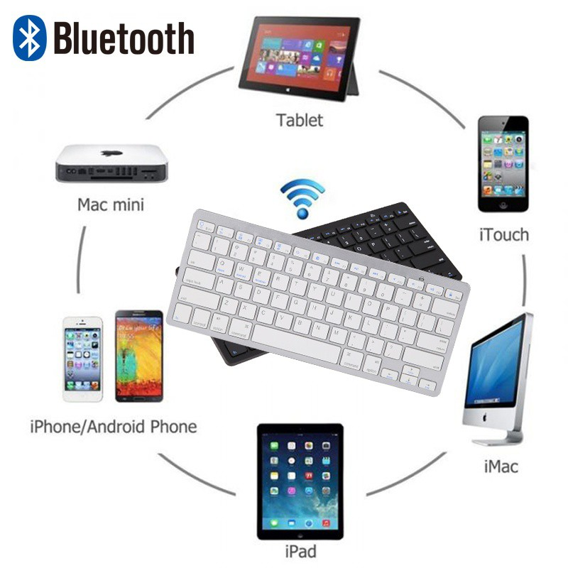 Mac,for Windows Android iOS PC Tablet Smartphone and Any Bluetooth Enabled Device,Silver Wireless Bluetooth Keyboard for iPad 9.7,iPad Pro//Air//Mini//2//3//4