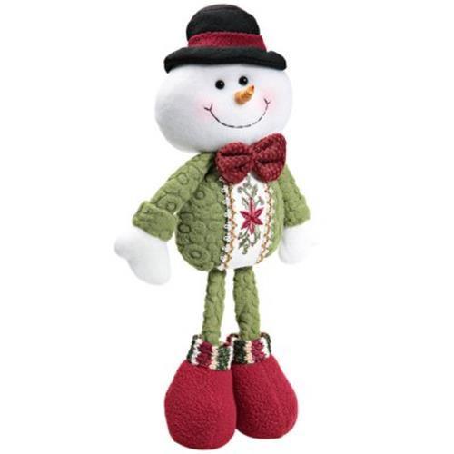 FLEXIBLE CHRISTMAS STANDING SNOWMAN DOLL HOME ORNAMENT CHRISTMAS GIFT (GREEN)