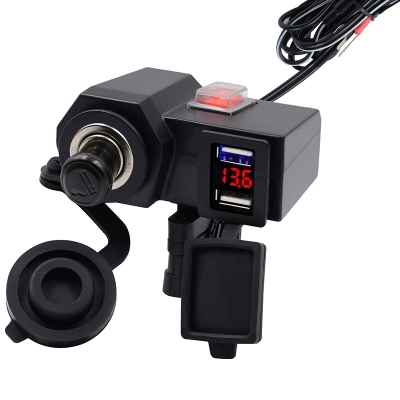 CS - 588C1 4.2A with Voltmeter Dual USB Faucet Mobile Phone Charger  (BLACK)