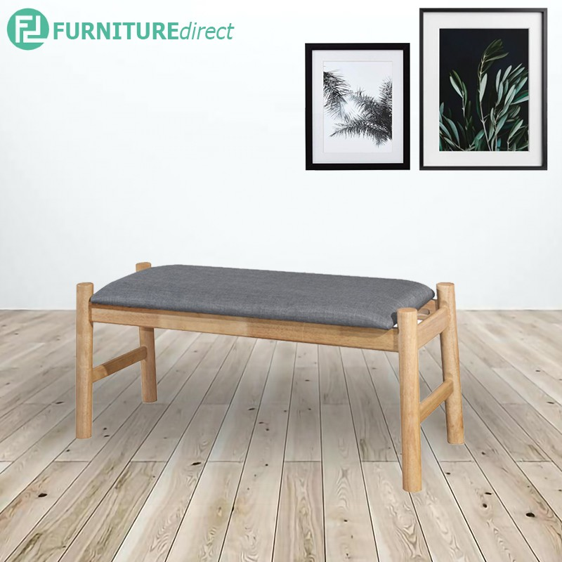 Furniture Direct TOTEM 100cm solid wood bench with fabric cushion seat