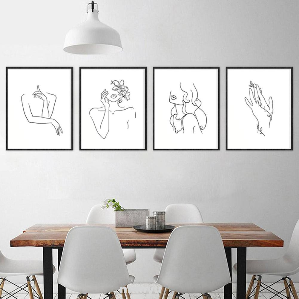 Living Room Gift Unframed Wall Decor Nordic Style Aesthetic Home Office Black White Minimalist Line Art Print Shopee Malaysia