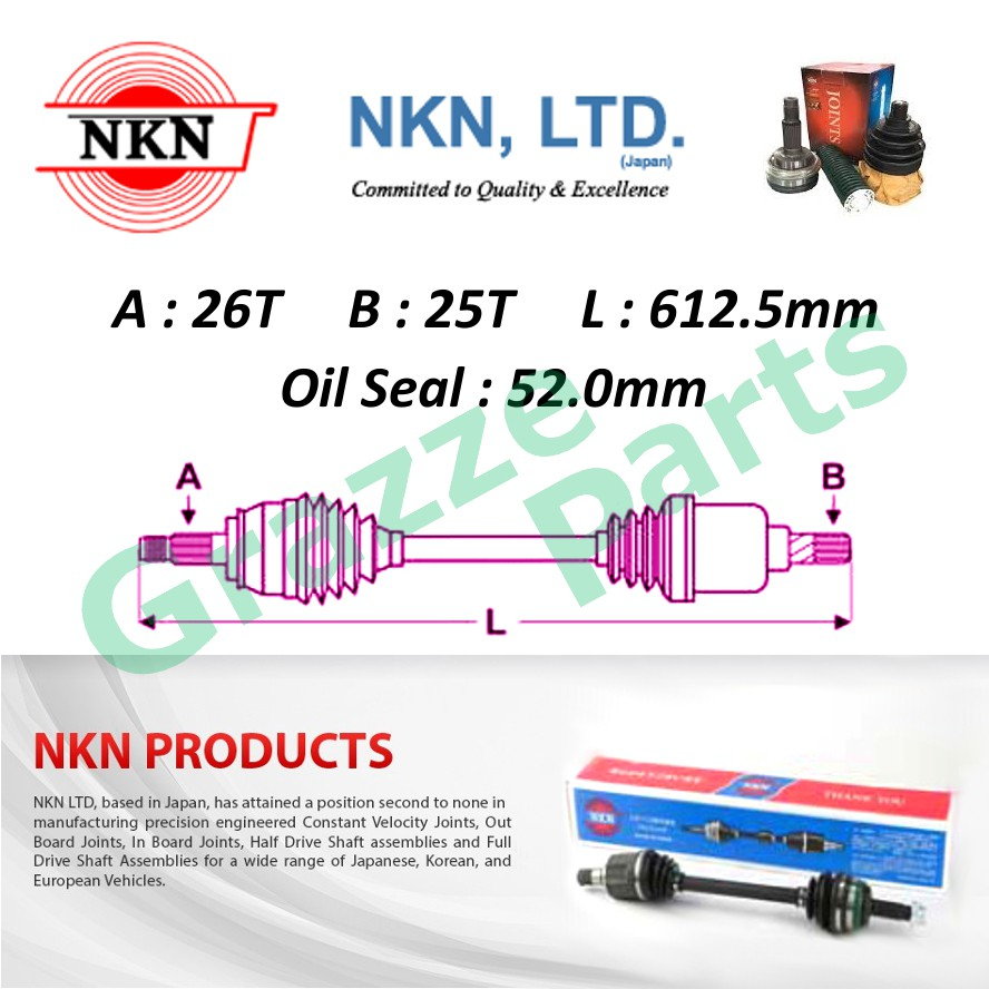 NKN Drive Shaft LH-Short for N6342 Honda City SEL Jazz SAA