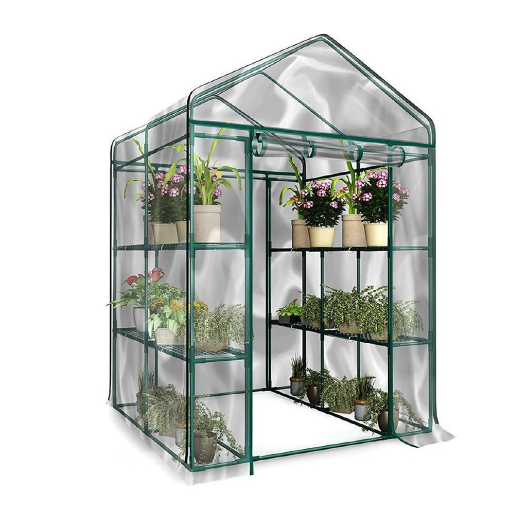 LARGE Walk In Greenhouse PVC Cover Plastic Garden Grow House 4 Shelves Garden