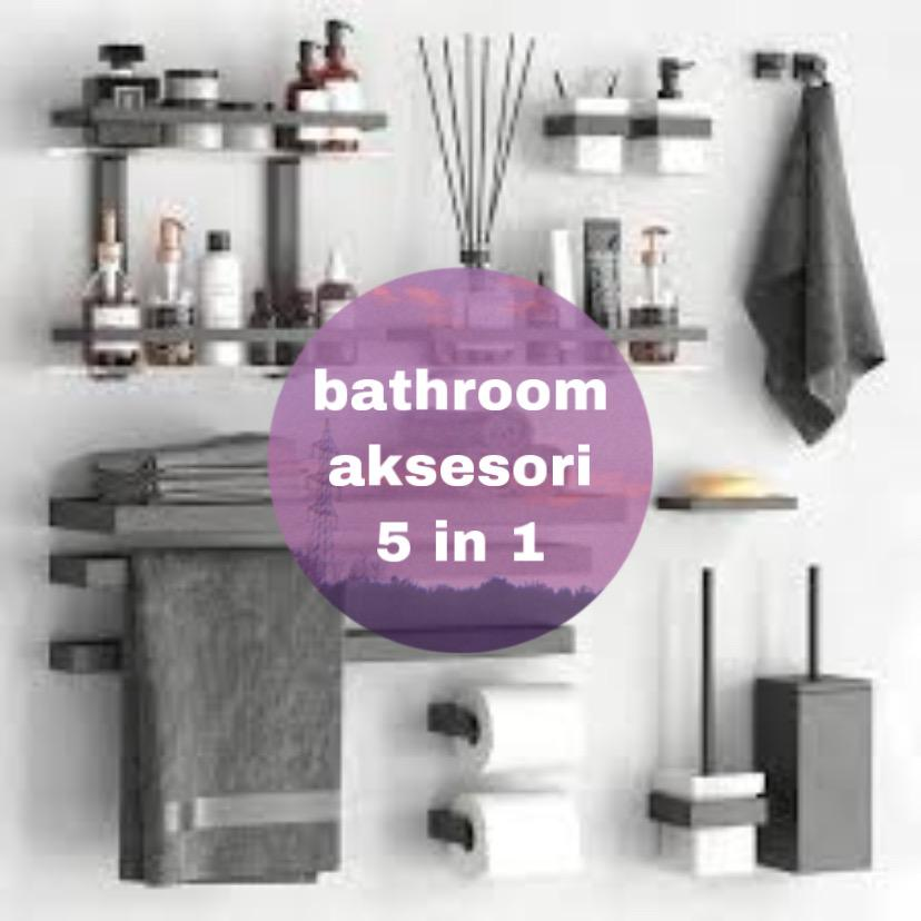 Shelf 5 In 1 Bathroom Rack and Toilet Organizer Shelves Rack Pengankut Dan Hook Toilet penyangkut toleteries