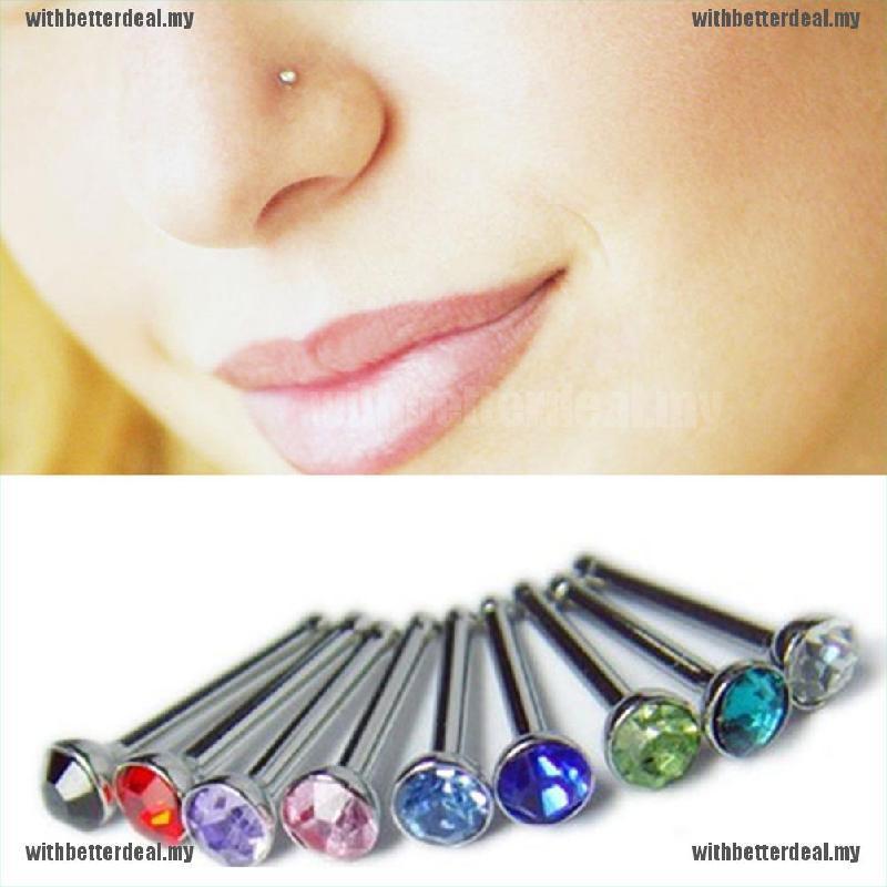 No-Piercing Stainless Steel Crystal Ear Lip Hoop Ring Nose Clip Women Jewelry w//